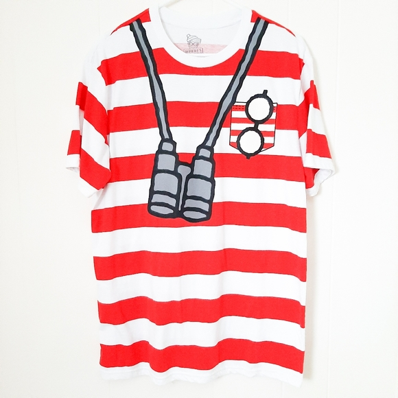 Where's Waldo? striped costume T-shirt L